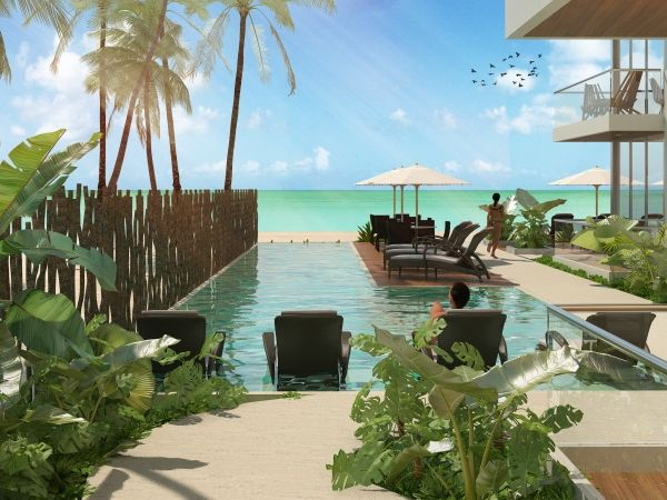 Brown luxury beach front condos resort