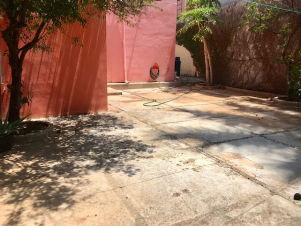 One floor house for sale at Loma Bonita Xcumpich. Backyard
