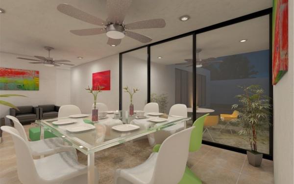 Casa en venta de una planta en privada trinum m rida for Comedor en planta