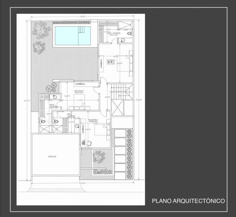 Houses for sale at Barlovento Residential Temozon. Model B. Architectural plane. Second floor