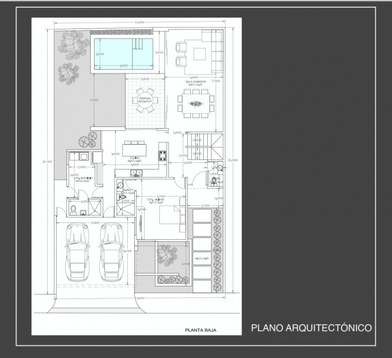Houses for sale at Barlovento Residential Temozon. Model B. Architectural plane. First floor