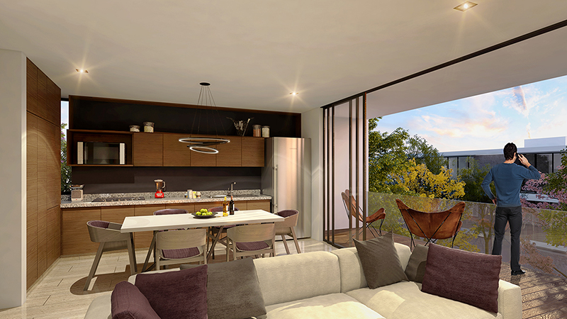 Apartments for sale in Montebello at Privada Taiga. Living room, dining room and kitchen