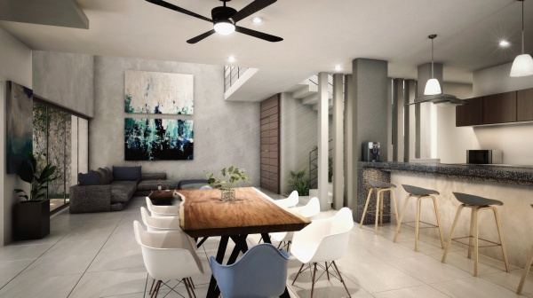 Residential house north of Merida at Parque Natura Residencial. Dining room