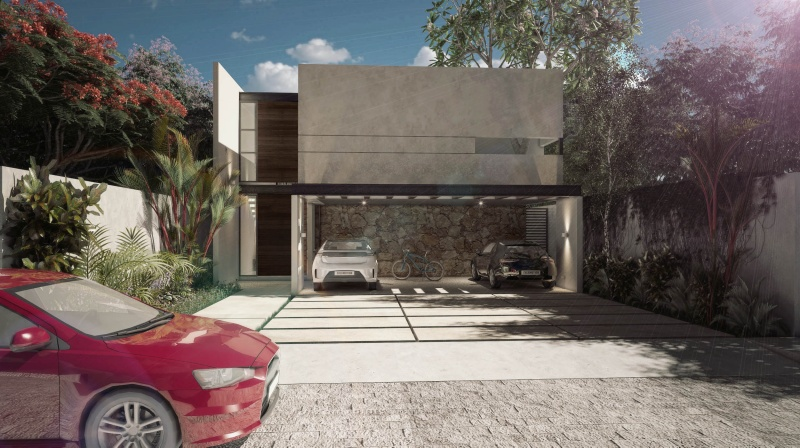 Residential house north of Merida at Parque Natura Residencial. Facade 2