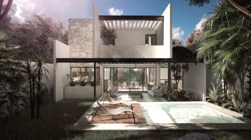 Residential house north of Merida at Parque Natura Residencial. Facade 3
