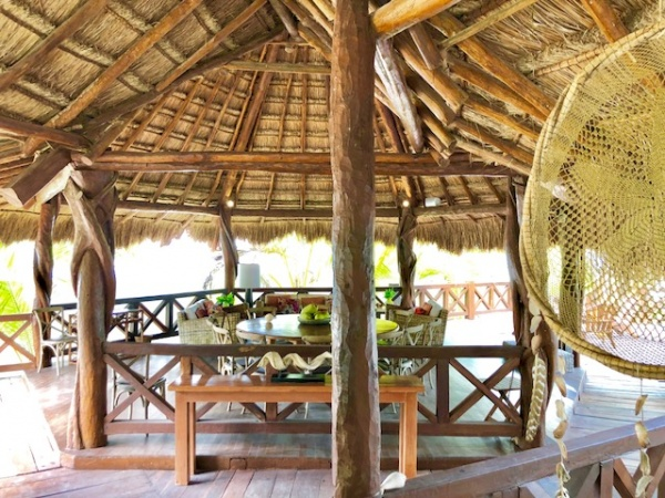Beach front residence at Uaymitun. Inside palapa