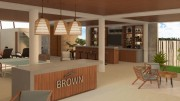 Brown luxury beach front condos resort. Lobby
