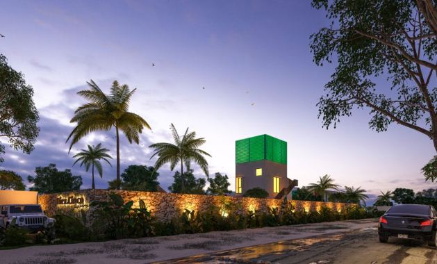 Villas and townhouses for sale at Chicxulub, Yucatan. General entrance