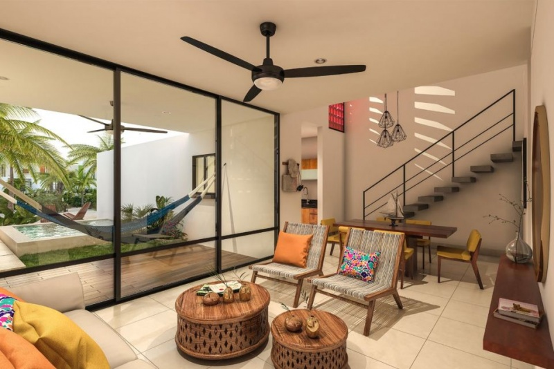 Villas and townhouses for sale at Chicxulub, Yucatan. Living room. Villas